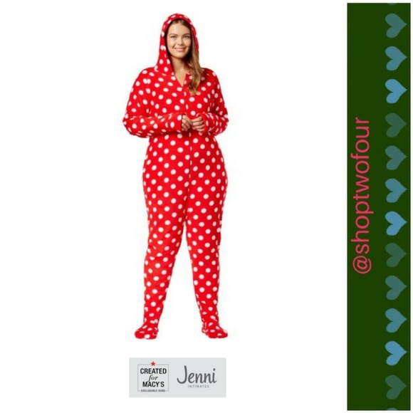 Jenni Women s Plus Footed Pajamas with Hood Red 15e68bd86